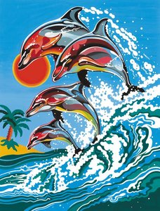 Schilderen op nummer Springende Dolfijnen