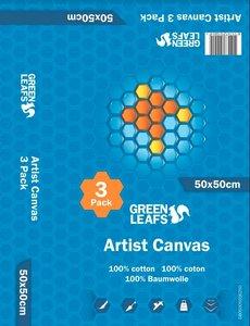 Schildersdoek Artist Canvas Greenleafs 50x50 Per 3 Pack
