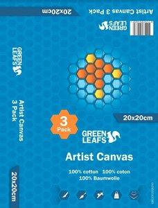 Schildersdoek Artist Canvas Greenleafs 20x20 Per 3 Pack