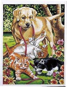 Schilderen op nummer Kittens met hond