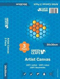 Schildersdoek Artist Canvas Greenleafs 30x30 Per 3 Pack