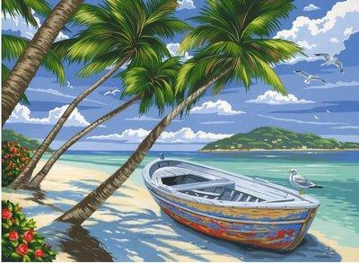 schilderen op nummer tropisch strand PL111
